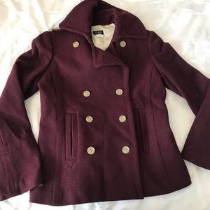 J. Crew Double Breasted Wool Peacoat Burgundy Sm